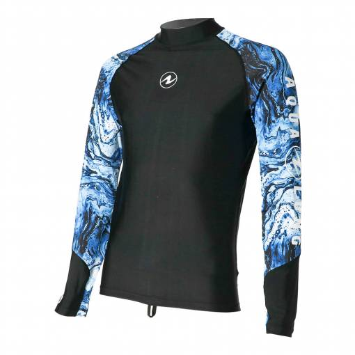 Aqualung Camo men rash guard long sleeve Black Blue