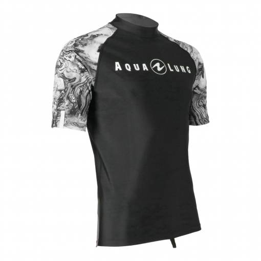 Aqualung rash guard Camo mens black short sleeve