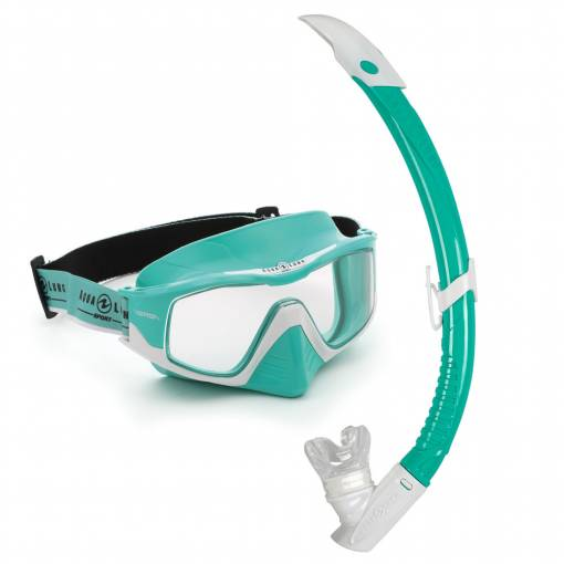 Versa diving mask and snorkel set Combo Turquoise White