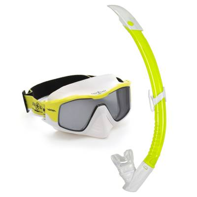 Versa diving mask and snorkel set Combo White yellow