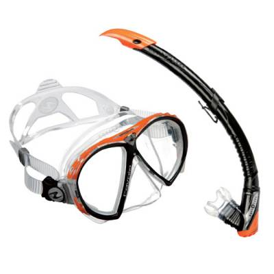 Aqualung Favola Zephyr diving snorkeling combo mask and snorkel set Orange