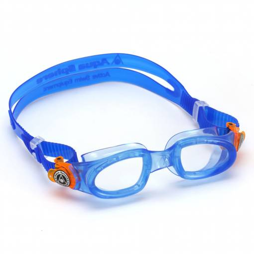 Moby kids swimming goggles clear blue orange