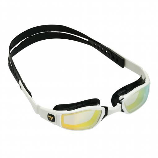 NINJA swimming goggles gold titanium mirror white frame black strap