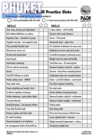 Open Water course skills slate