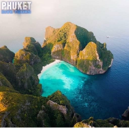 Phi Phi Islands maya bay drone image