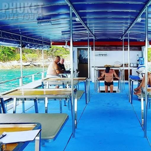 Phi Phi diving boat seating area