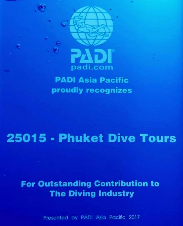 Phuker Scuba diving resort award 2017