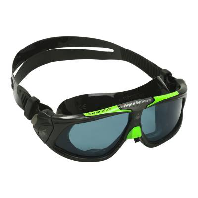 Seal swimming goggles smoked lens black and lime frame