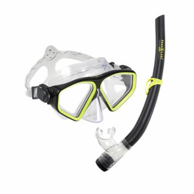 Saturn Combo Black Yellow mask and snorkel set