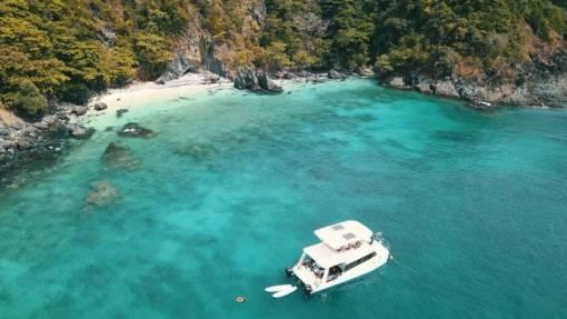 Scuba diving at coral island