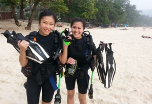Beginners learning to scuba dive at Kata Beach