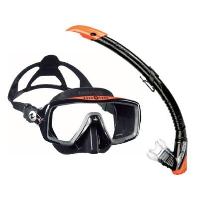 Aqualung Ventura Zephyr diving mask and snorkel set black orange