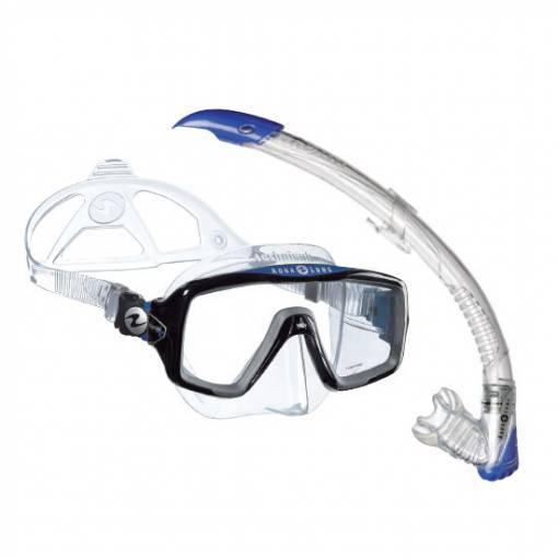 Aqualung Ventura Zephyr diving snorkeling mask and snorkel set Blue
