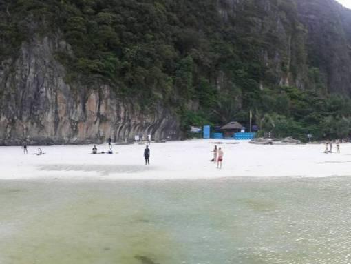 Views of the beach at Maya Bay at Low Tide