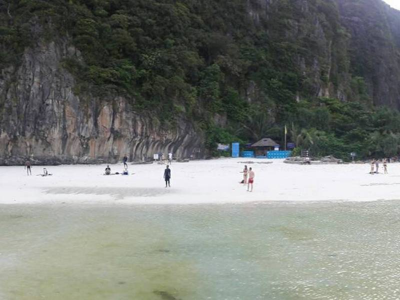 Views of the beach at Maya Bay at Low Tide