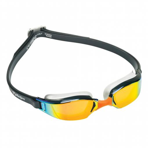 Xceed swimming goggles Titanium Mirror Orange Lens Dark Grey