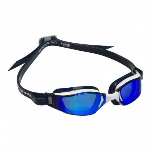 Xceed swimming goggles titanium mirrow lens white frame