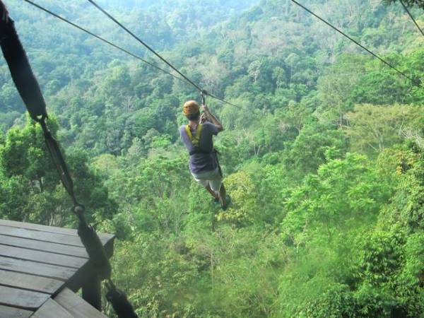 400m long zip line in Phuket Thailand