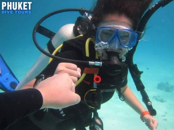 beginner scuba diving at Racha Yai