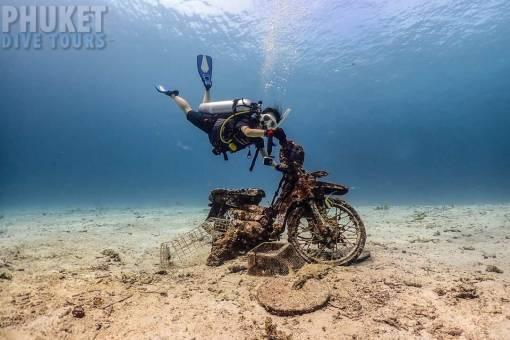 scuba diving bike at racha yai