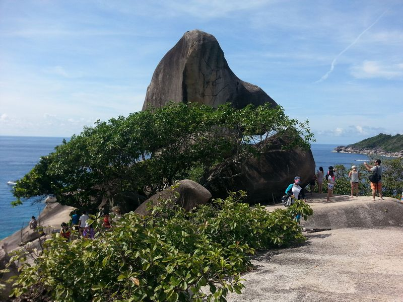 standing at sail rock similan islands