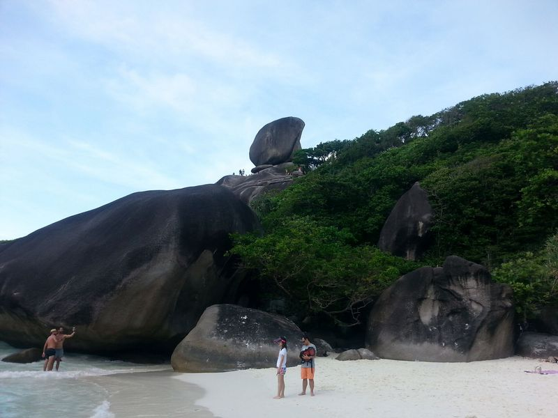 view of sail rock from the beach similan islands